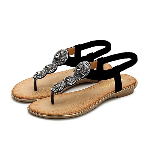 c03865b61 Women s Bohemia Flip Flops Summer Beach T-Strap Flat Sandals Comfort  Walking Shoes (Black