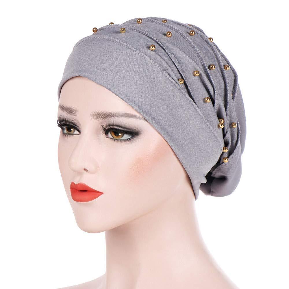 Yezijin Women Beading India Hat Muslim Ruffle Cancer Chemo Beanie Scarf Turban Wrap Cap (Gray)