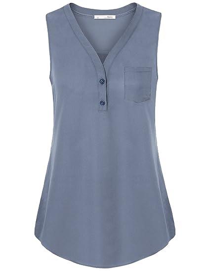 Messic Weste Tops für Frauen, Frauen ärmellose Chiffon Shirts Büro Bluse  einfarbig Tunika V- e90a284376