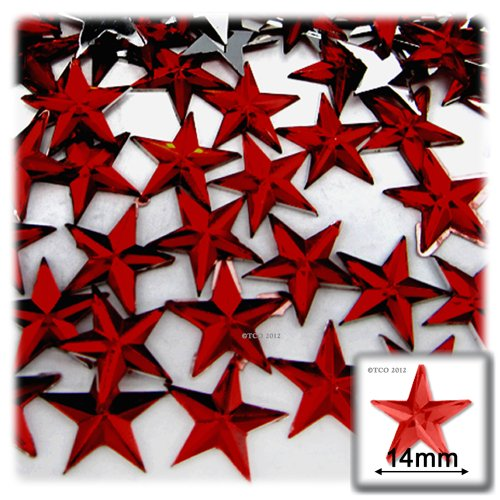 The Crafts Outlet 144-Piece Flat Back Star Rhinestones, 14mm, Devil Red Wine