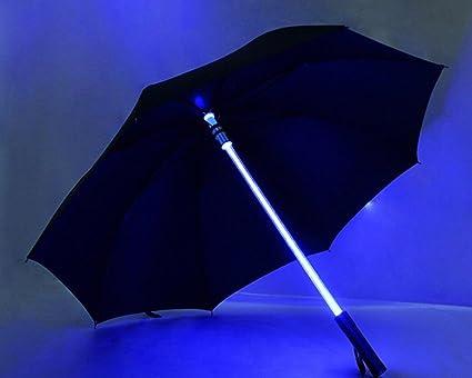 THUNFER Paraguas Paraguas LED Paraguas Luminoso Creativo Arte Regalo Viento Negocio Acrílico,Black