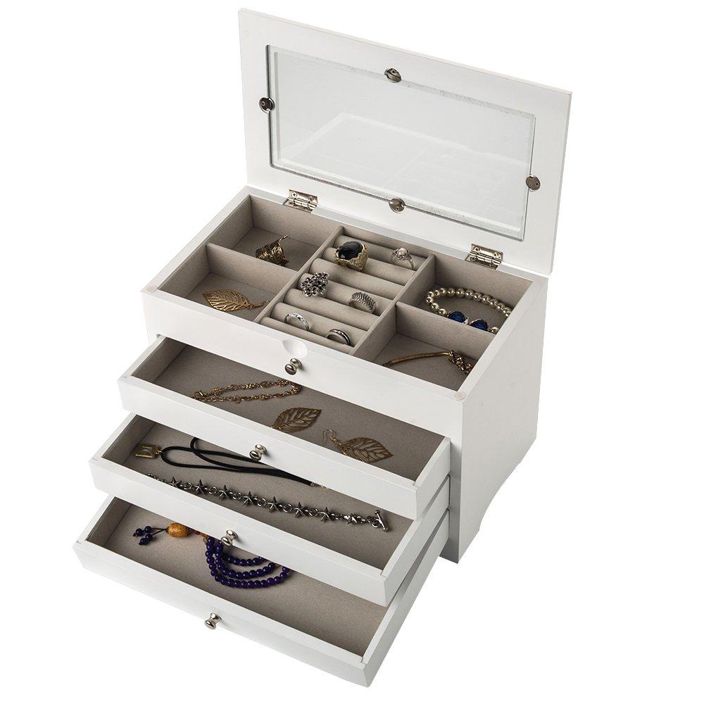 INART Decorative Wooden Jewelry Box Girls Jewelry Organizer Ring Storage with Glass Top, White Finish