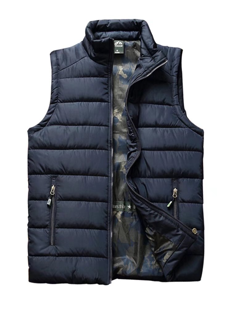 Vcansion Men's Stand Collar Lightweight Vest Casual Jacket Coat Vest Blue US M/Asia 2XL