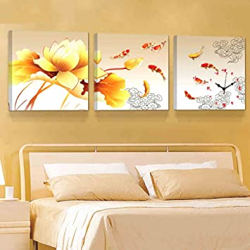 Decoration MEIDUO Wand Dekor Wohnzimmer 3 Stück Frameless Gemälde Hängende  Uhren Modern Einfache Sofa Hintergrund