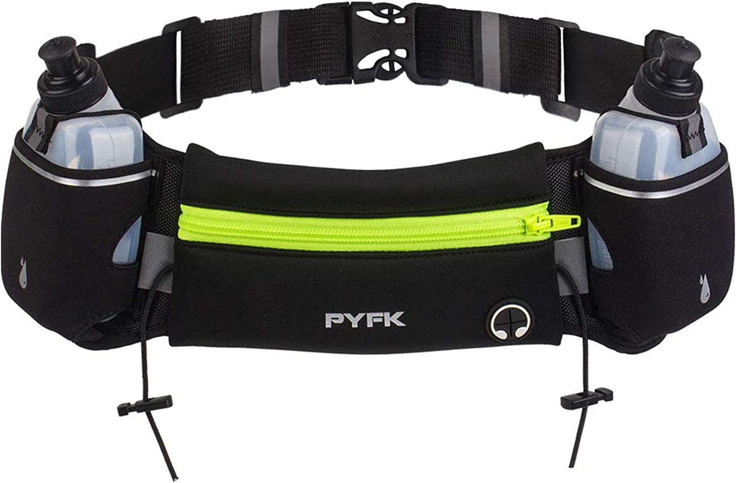 PYFK Upgraded Running Belt with Water Bottles, Hydration Belt for Men and Women, Water Bottle Holder Running Pouch Belt, Fanny Pack Fits 6.5 inches Phones, Waist pack for Running Hiking Climbing