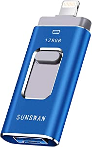 USB Flash Drive 128GB for iPhone Photo Stick Thumb Drive 3in1 for iPad Flash Drive External Storage SUNSWAN for iPhone iPad iPod iOS Windows Mac Android and PC(Blue128G-XT)