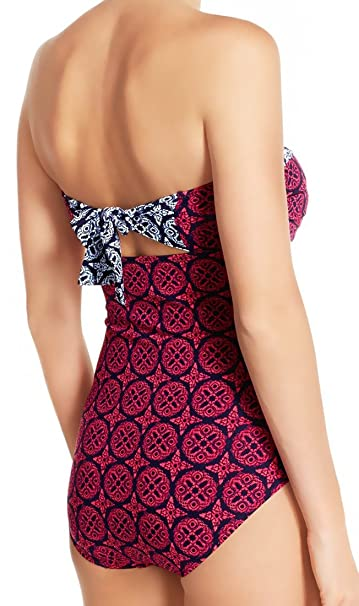 d9aeb06fbf0 Amazon.com: Tommy Bahama Women's Lace Medallion Foam Cup Bandeau One-Piece:  Clothing