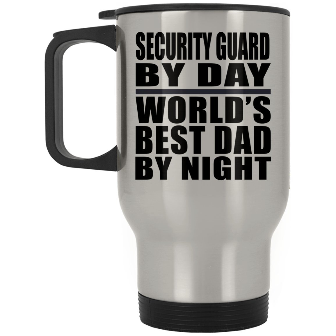 Dad Travel Mug, Security Guard By Day World's Best Dad By Night - Travel Mug, Stainless Steel Tumbler, Best Gift for Father, Daddy, Him, Parent from Daughter, Son, Kid, Wife by Designsify