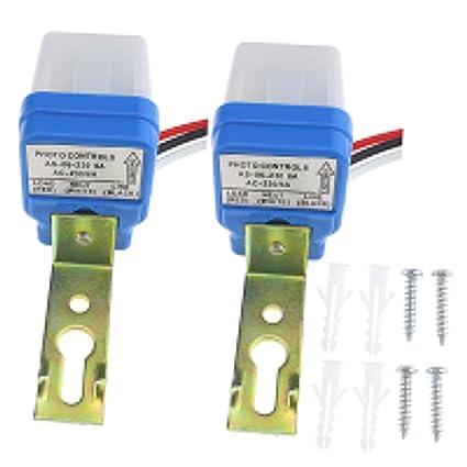 2 unidades, 230 V/6 A Interruptor crepuscular Sensor Crepuscular Sensor de luz automático