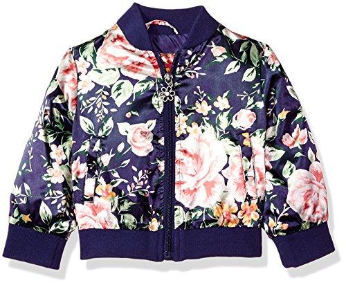 Pink Platinum Baby Girls Floral Satin Bomber, Navy, 18M