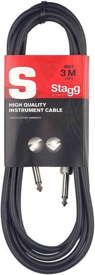 Stagg SGC3 - Cable con enchufe para teléfono, 3 m, Derecho - Estándar, Negro