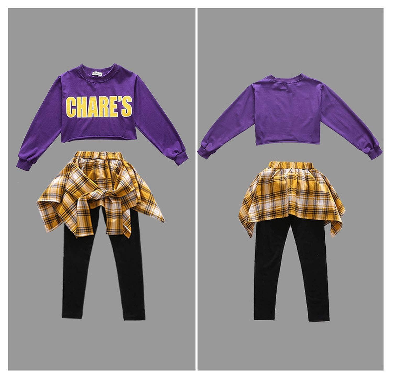 LOLANTA 2PCS Girls Round Collar Street Jazz Dance Costumes Hip Hop Outfit Kids Culottes