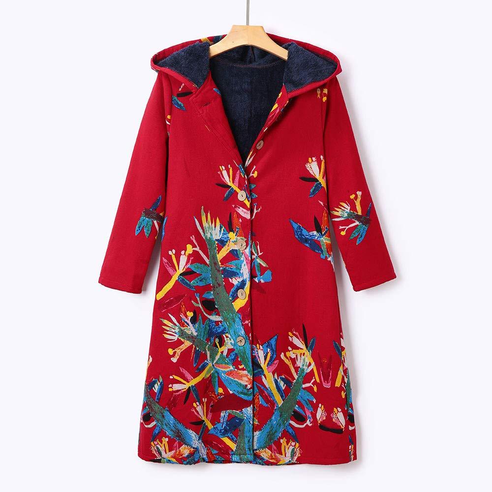 Amazon.com: Women Winter Warm Outwear Floral Print Pockets ...
