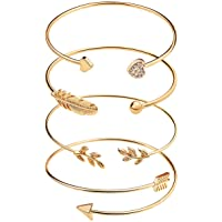 suyi 4 pcs Bracelet Manchette réglable Bracelet Ouvert Fil Bracelet empilable Wrap Bracelet pour Femmes Filles