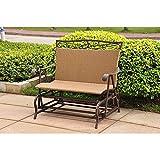 International Caravan Wicker Resin/Steel Single Hanging Patio Chair Swing For Sale