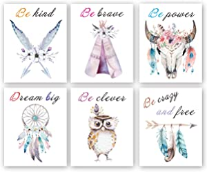 Set of 6 - Girls Boho Tribal Wall Art Print,Dream Feathers Flowers with Inspirational Quote Wall Poster Picture, Watercolor Positive Affirmation Words Bohemian Canvas Poster Decor - (Unframed, 8