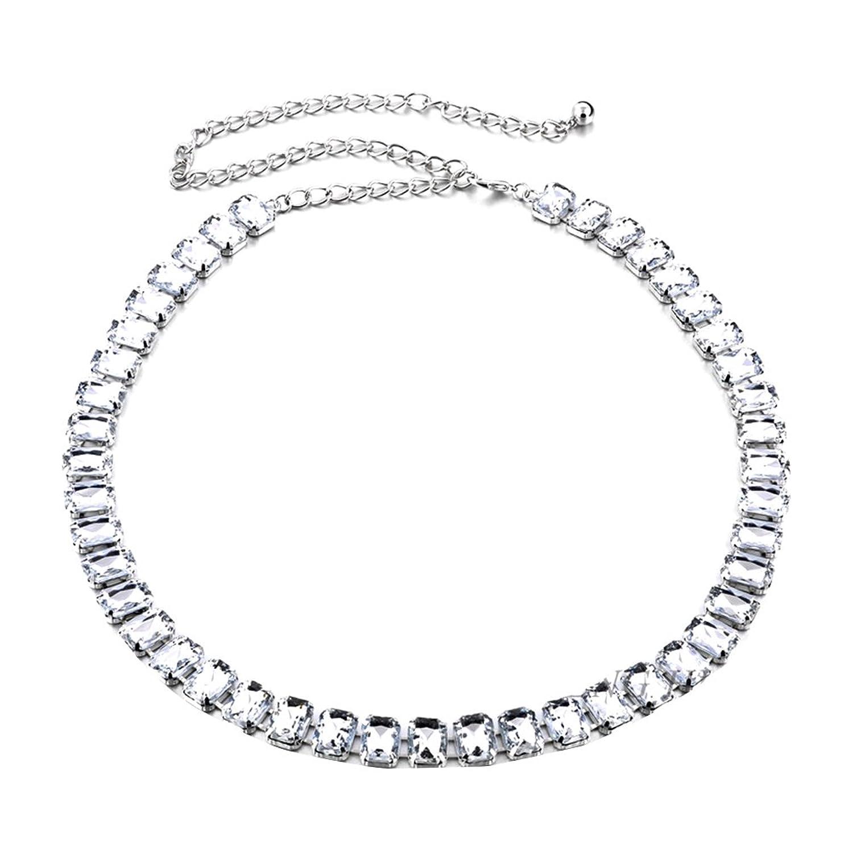 Sitong women's wide diamond inlaid metal waist chain