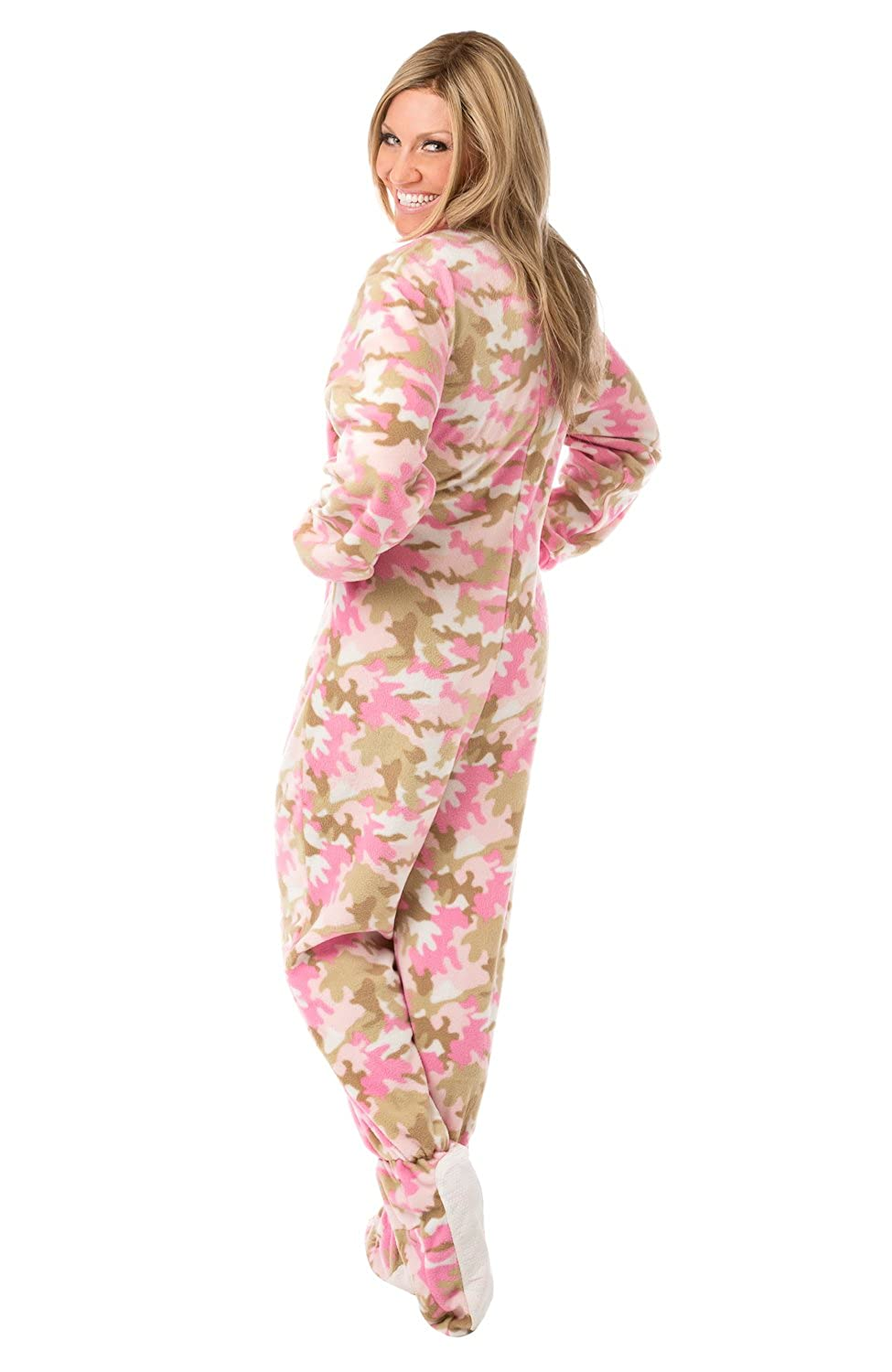 1d3a6318d7ea Big Feet PJs Womens Pink Camouflage Fleece Adult Footed Onesie Pajamas at  Amazon Women s Clothing store
