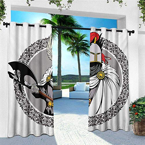 leinuoyi Medieval, Sun Zero Outdoor Curtains, The Medieval Knight with Traditional Costume and Ancient Mask Heroic Past Theme, Outdoor Curtain Set for Patio Waterproof W96 x L96 Inch Multicolor -