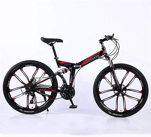 GJNWRQCY Doble suspensión Plegable Diez Cuchillas Rueda Total Frenos de Disco Bicicleta de montaña de 27 velocidades 24/26 Pulgadas,Negro,26inch: Amazon.es: Hogar