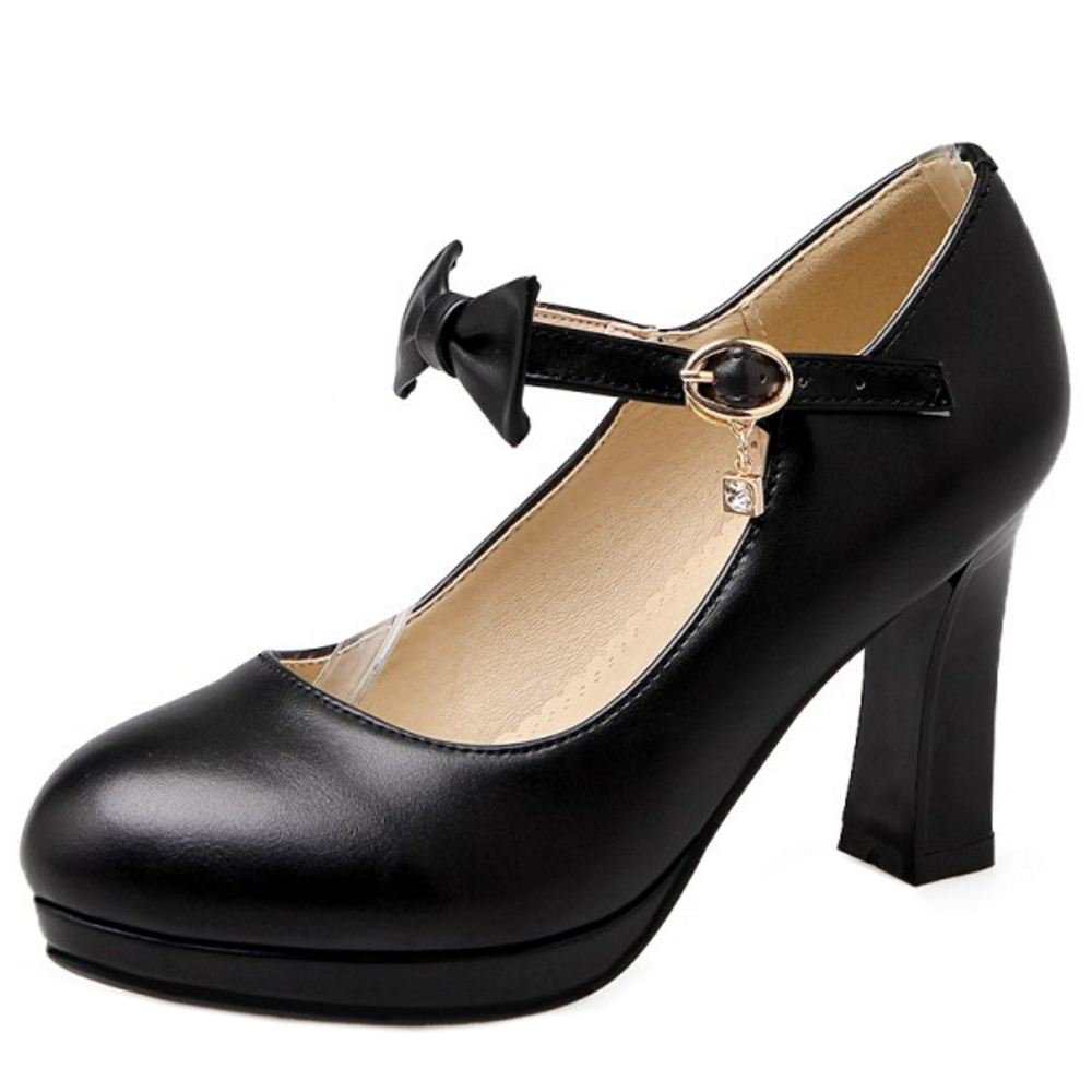 Zanpa Damen Heel Pumps Bow33 EU|Black