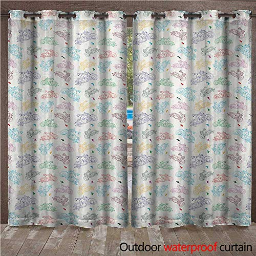 WilliamsDecor Motorcycle Outdoor Balcony Privacy Curtain Identical Motorbikes in Disorder and Pale Color Palette with Scribble Details W96 x L84(245cm x ()