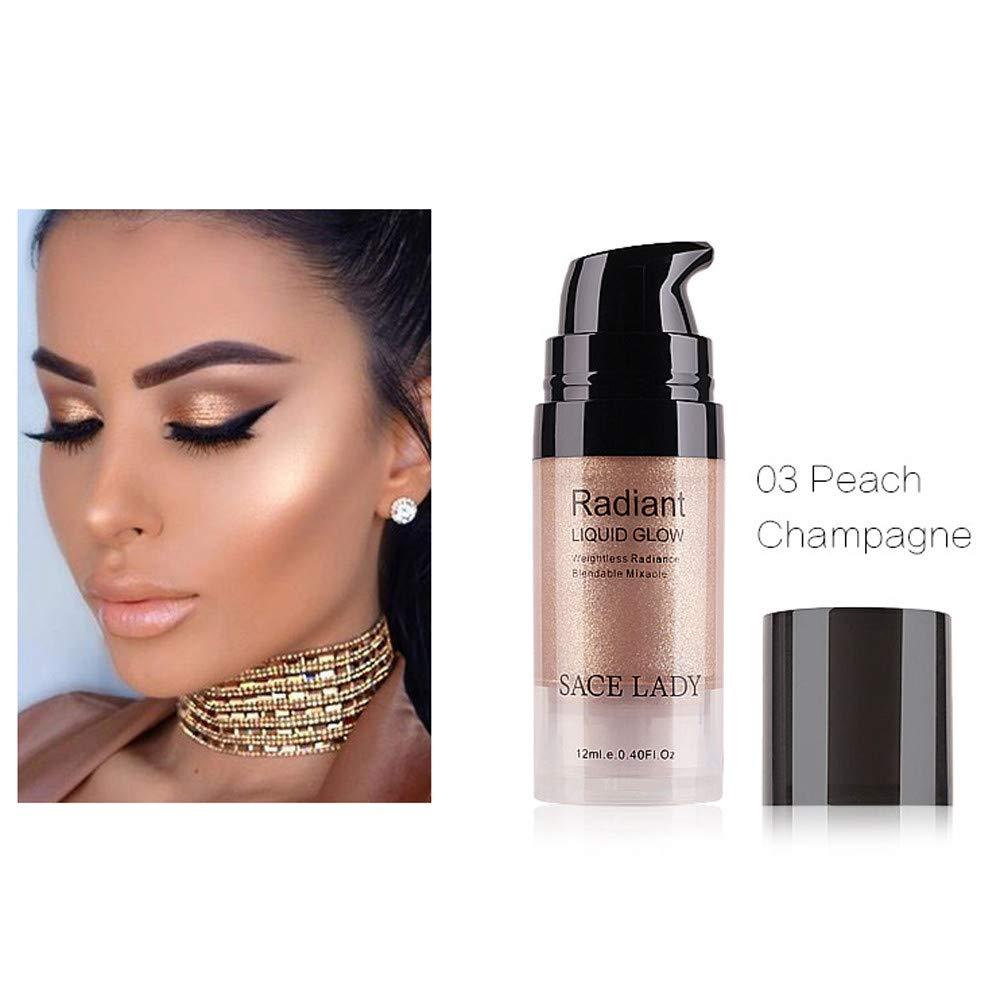 LEERYAAY Makeup Cosmetic Liquid Glow Highlighter Lip Foundation Makeup Shimmer Cream Facial Bronzer Conto