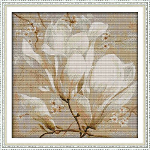 Dimensions Needle Crafts Counted Cross Stich Hand Made 14CT Magnolia flower (2) H366 Flowers
