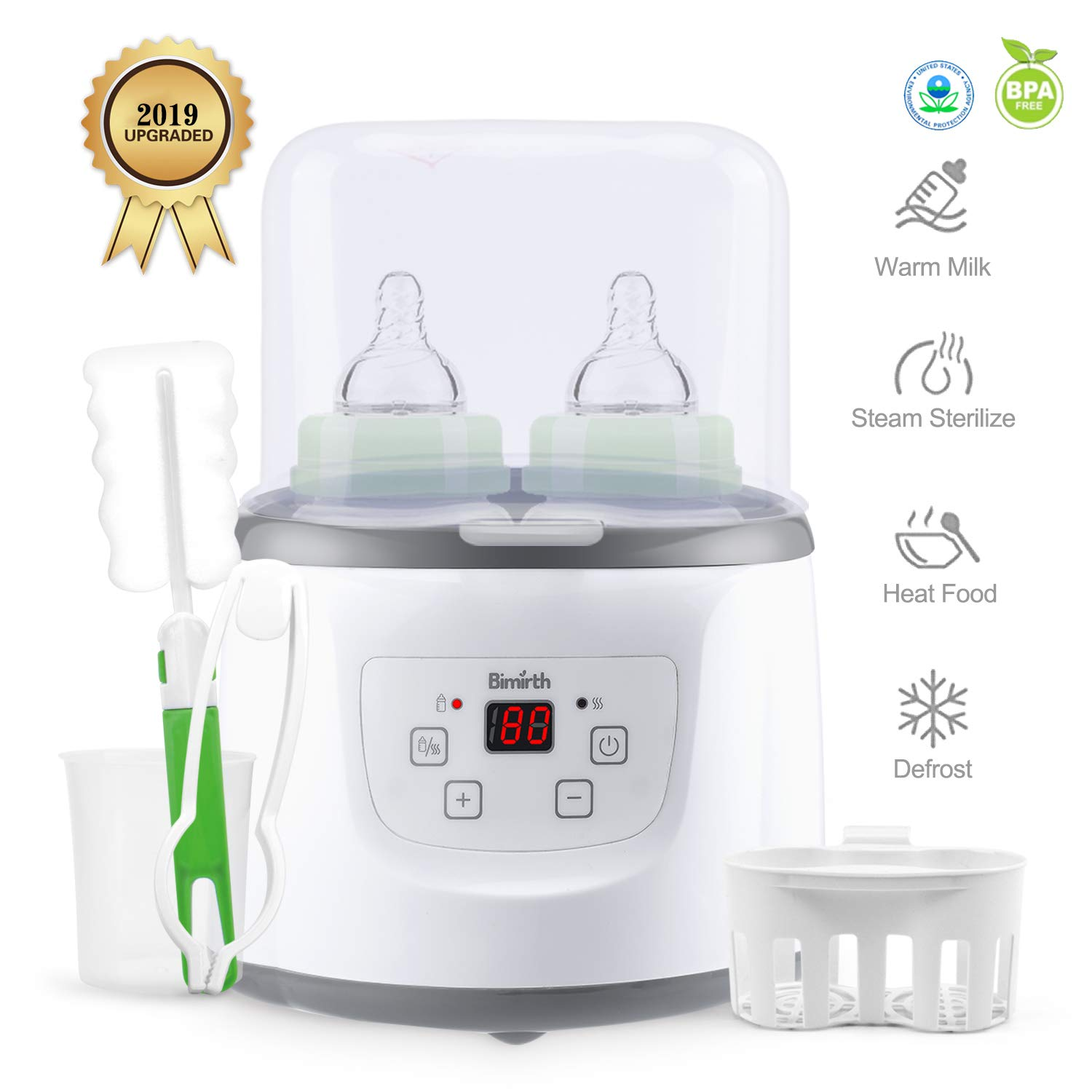 Baby Bottle Warmer Bottle Sterilizer Smart Portable Bottle Warmer and Baby Food Heater for Breast Milk or Formula with LCD Real-time Display Fast Warming by Smartip