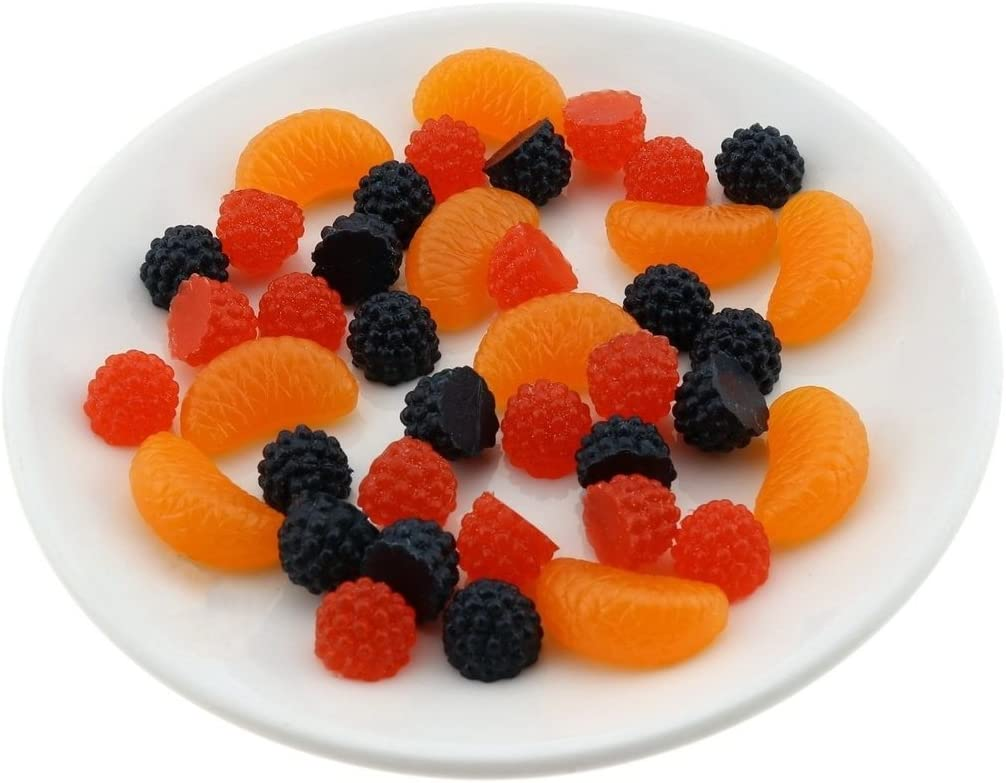 Gresorth Premium Artificial Fruit Slice Fake Raspberry Orange Fruits Home Party Decoration Photo Props