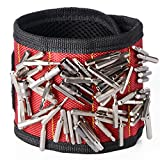 Magnetic Wristband with Super Strong Magnets for Holding Tools, Screws, Nails, Bolts, Drilling Bits and Small tools- Best Unique Tool Gift (Red)