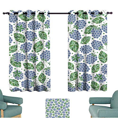Warm Family Decorative Curtains for Living Room Seamless Pattern of BlackBerry Suitable for Bedroom Living Room Study, etc. ()