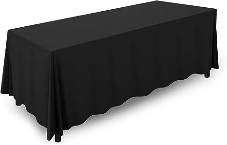 "Black Polyester Rectangle Table Cloth Wedding Banquet Table Cover Linen 90/""X132/"""