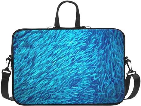 Bolso de Hombro para computadora portátil Bolso de Mensajero Estuche para portátil Funda de Neopreno Funda de Viaje para Tableta de Transporte Suave, Sea Sardine Colony Ocean Massive Fish Bolsos para: Amazon.es: