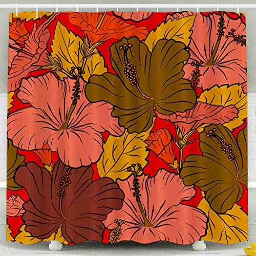 ROOLAYS Shower Curtain,Shower Curtain, Hawaiian Shirt Multicolor Hibiscus Pattern Red Background Waterproof Decorative for Home Décor 78x72 Inch Bathroom Fabric Shower Curtains