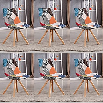 Designetsamaison Lot De 6 Chaises Scandinaves Patchwork