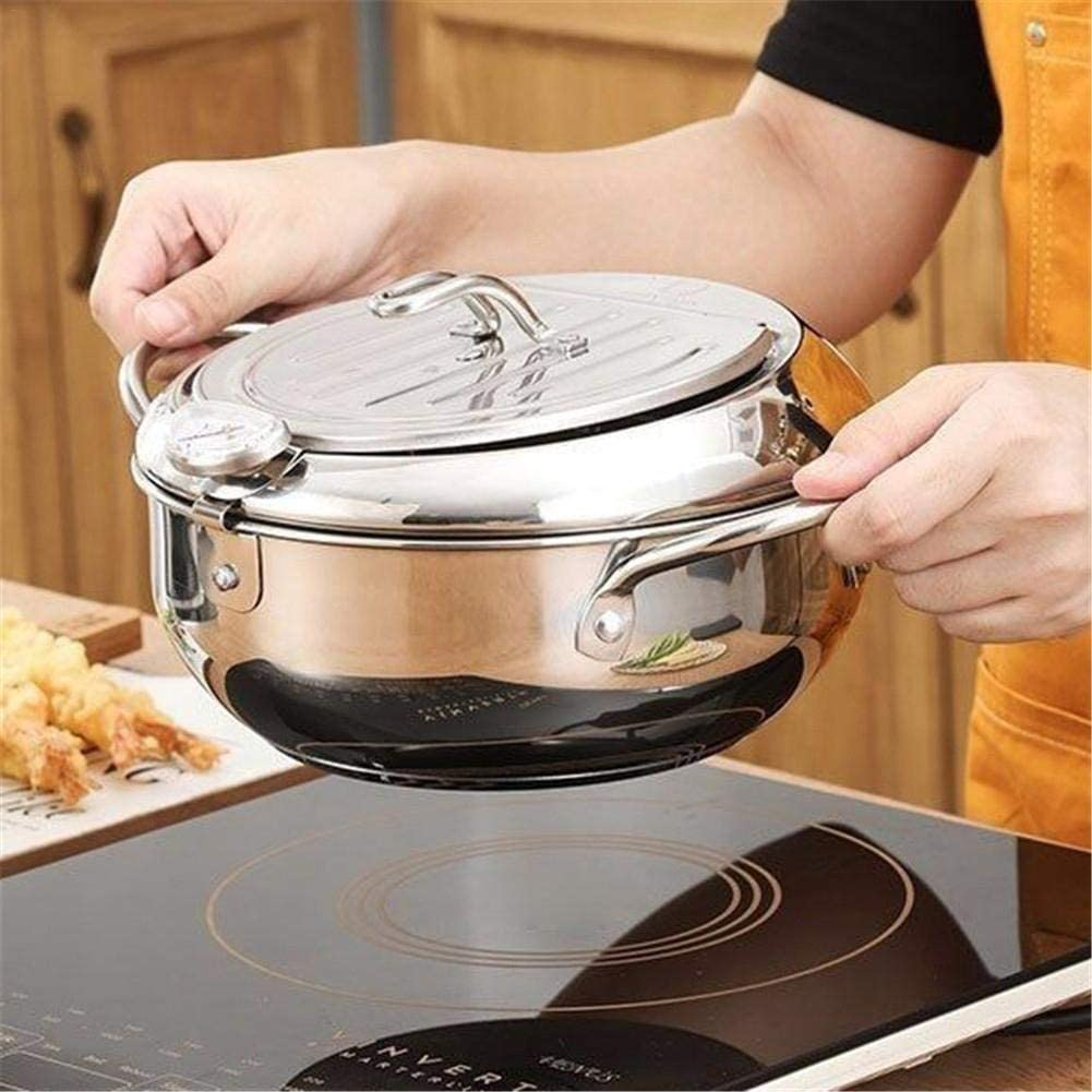 Yxp Friggitrice in acciaio inox, con termometro e coperchio, friggitrice giapponese per cucinare, con schermo olio Mini stufa famoso Argento