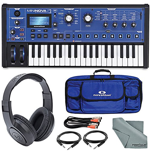 Novation MiniNova Compact Analog Modelling Synthesizer W/Stereo Headphones, Gig Bag, Cables and FiberTique Cleaning Cloth (Synthesizer Gig Bag)