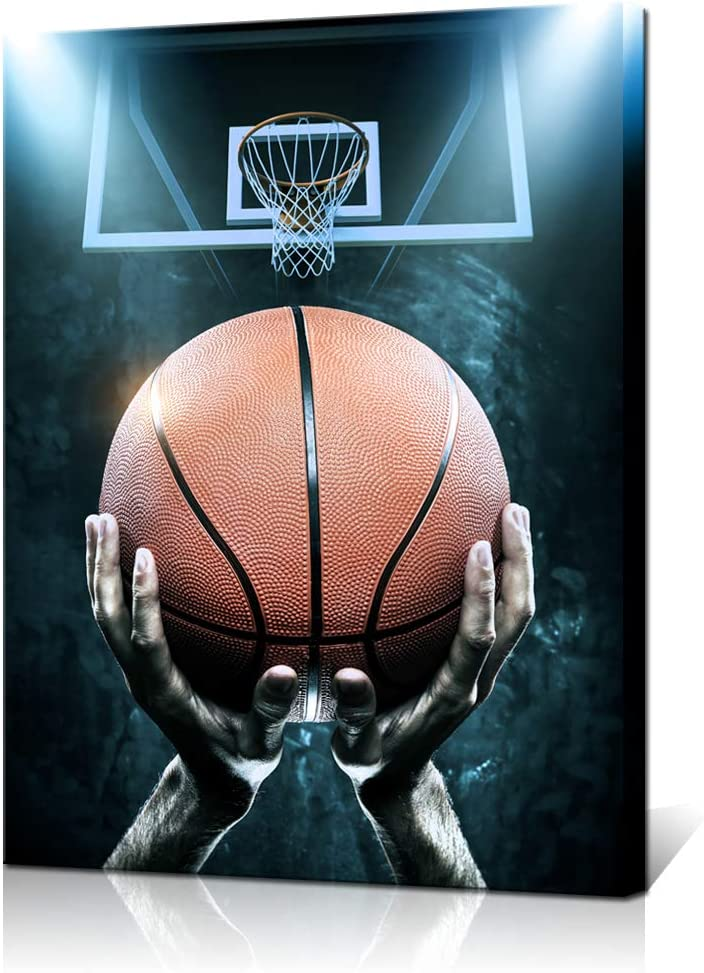 Biuteawal Basketball Canvas Wall Art Men Ready to Shoot to the Basket Picture Print Sport Painting Artwork Modern Home Decor Stretched and Framed for Boys Bedroom 24x32inch