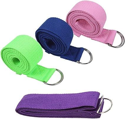 SONSYON Cinturon Yoga - Cinturón Deportivo de Algodón Duradero con Hebilla para Mantener la Postura y Flexibilidad del Yoga,4 * Correas, 4 Colores,Tamaño de Correa:183cm*3.8cm: Amazon.es: Deportes y aire libre