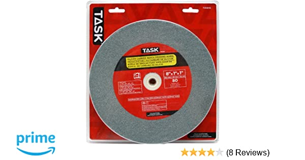 Task Tools T35945 8-Inch by 1-Inch Silicon Carbide Bench Grinding Wheel, 80 Grit, 1-Inch Arbor - Bench And Pedestal Grinding Wheels - Amazon.com
