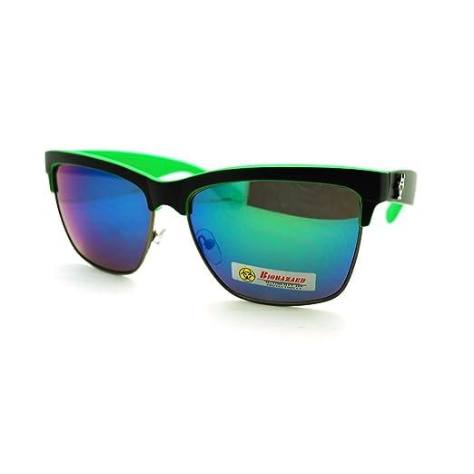 a24f6738fbd Biohazard Half Rim Square Sunglasses Unisex Skater Sporty Fashion Green