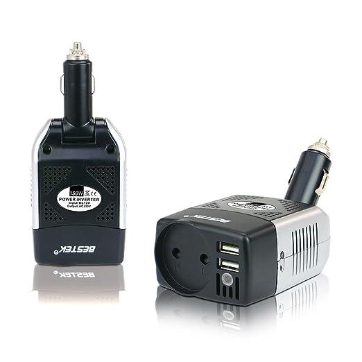 BESTEK MRI1513CE-ES - 150W Inversor 12V a 230V con tomacorriente EU y Puerto USB para cargar Apple iPhone, iPad y otros (tomacorriente EU): Amazon.es: Coche ...
