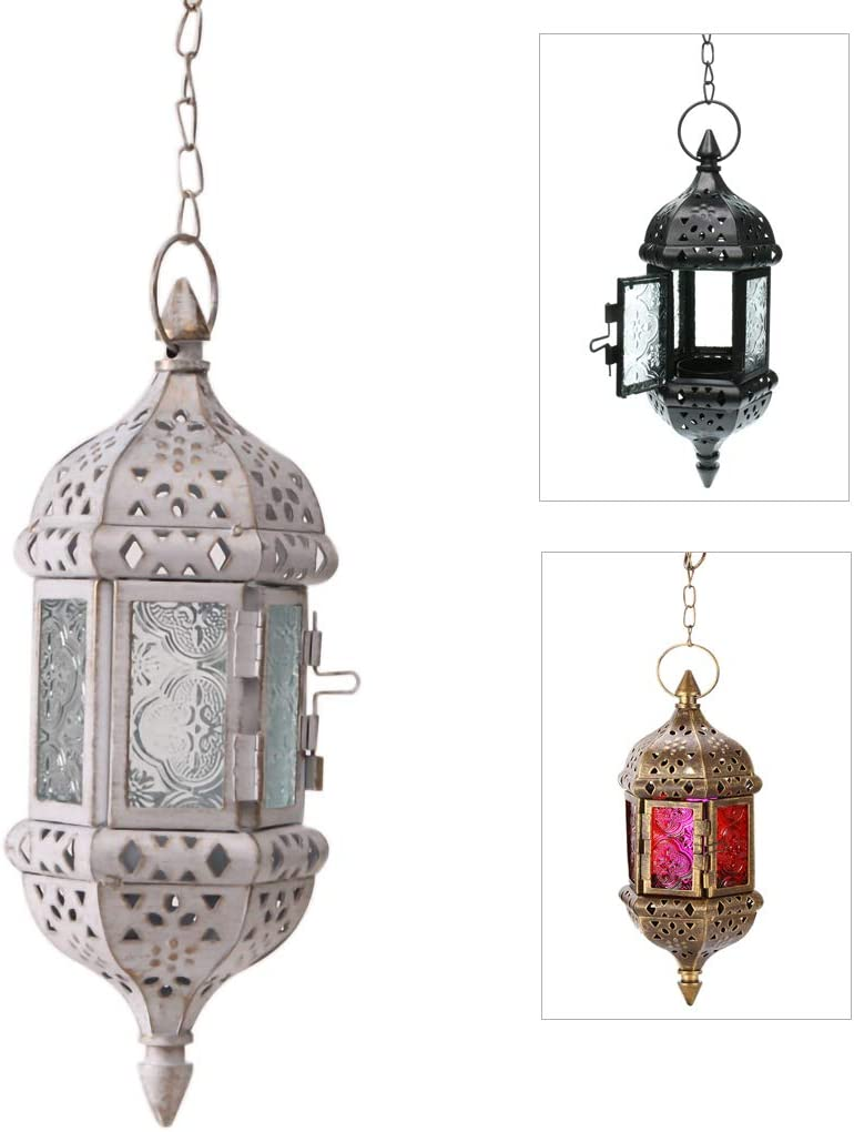"""GKanMore Hanging Candle Lantern Retro Moroccan Candle Holder Hollow Metal Glass Candle Holder Lantern with 15.7"""" Hanging Chain for Home Patio Christmas Decorations (White)"""