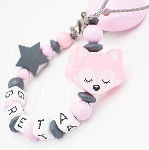Schnullerkette mit Namen Fuchs Igel Baby Schnullerhalter Mädchen rosa grau