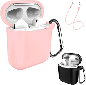 AirPods Case Keychain, Coffea 2 Pack Protective Silicone Case Cover and Skin with Anti-Lost Strap for AirPods 1 & 2 Charging Case (Black+Pink)