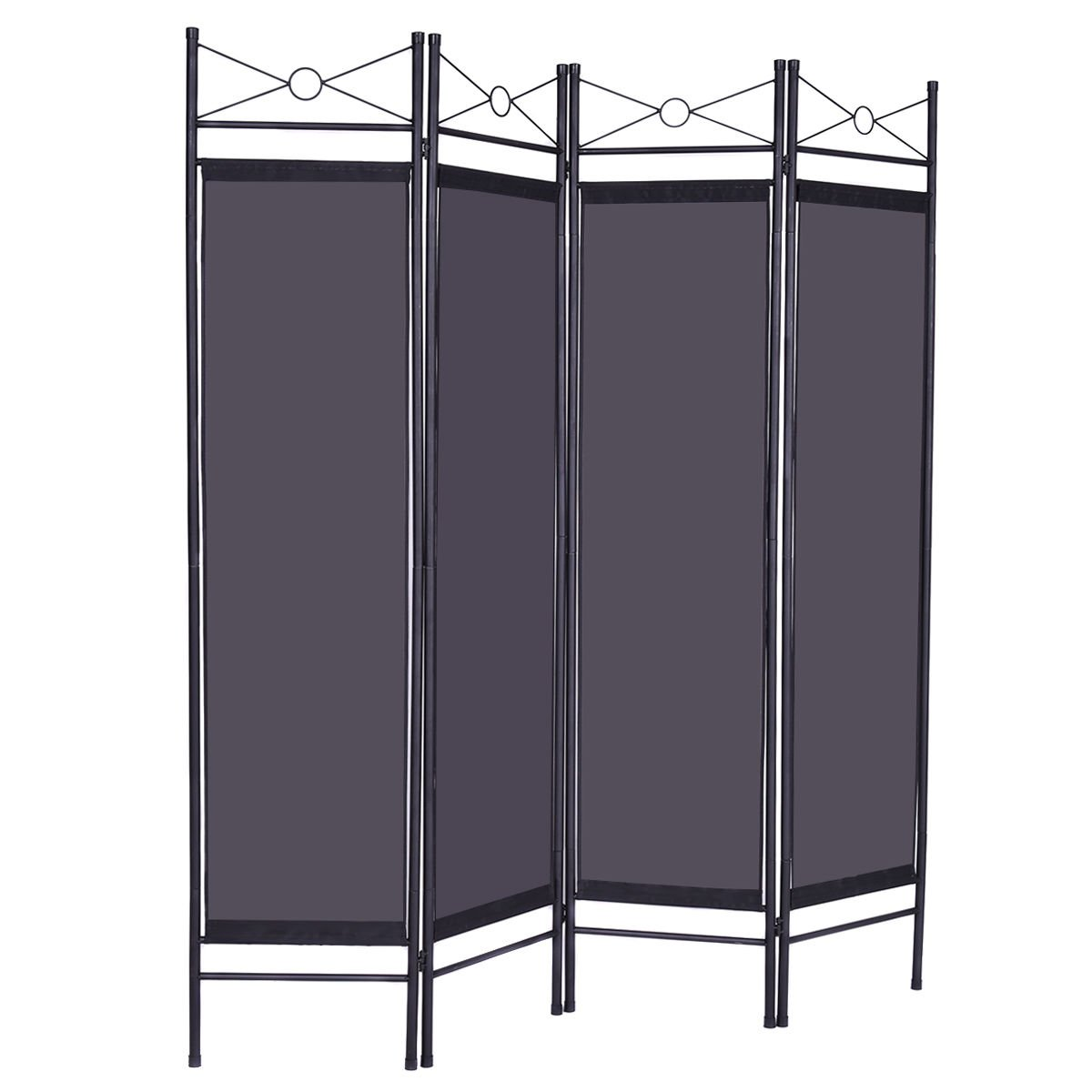 Honesty Folding Black 4 Panel Room Divider Privacy Screen Home Office Fabric Metal Frame
