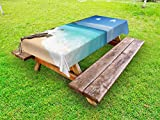 Lunarable Beach Outdoor Tablecloth, Tropical Beach Seaside Cliff and Clear Sky of Bali Island Indonesia Image, Decorative Washable Picnic Table Cloth, 58 X 120 Inches, Sand Brown Blue Green