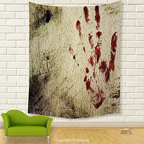 Vipsung House Decor Tapestry_Horror House Decor By Grunge Dirty Wall With Bloody Hand Print Murky Palm Trace Victim Violence Red Beige_Wall Hanging For Bedroom Living Room Dorm