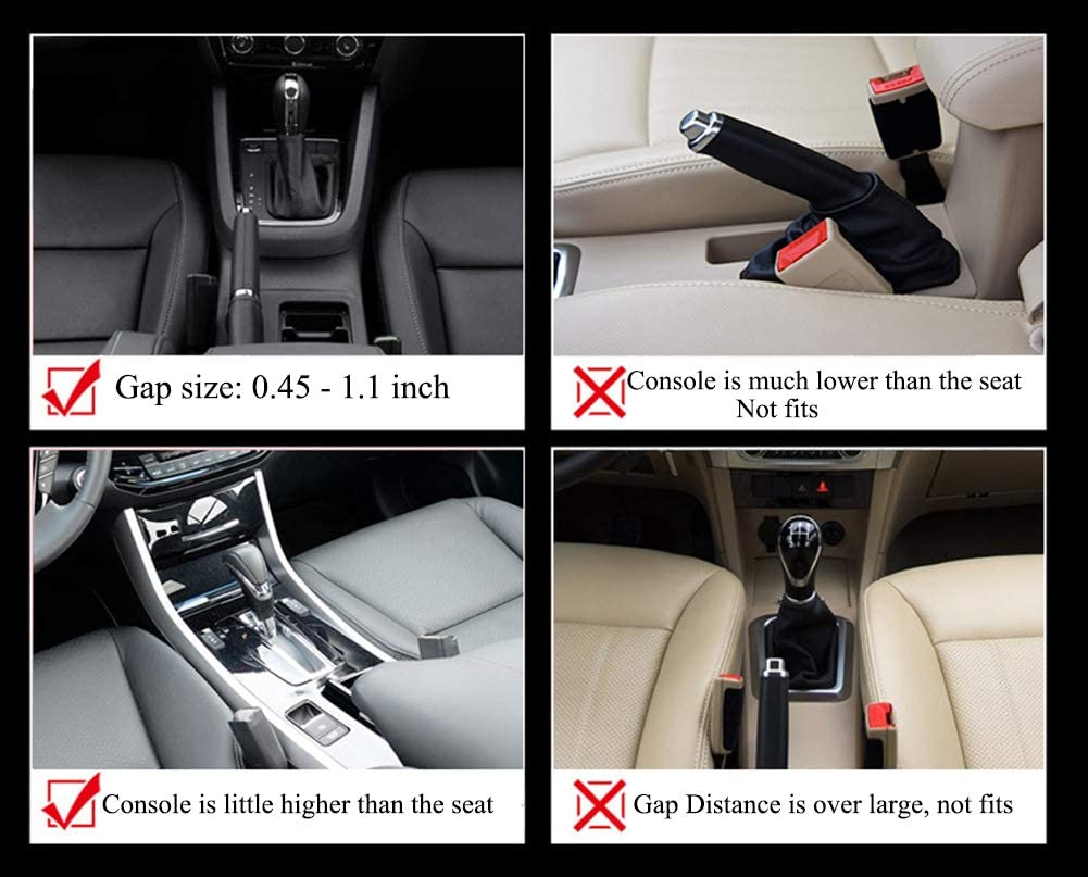Black Dyshuai Premium PU Leather Side Pocket Organizer Car Seat Filler Gap Space Storage Box Bottle Cup Holder Coin Collector Car Interior Accessories 1 Driver and 1 Passenger 2PCS